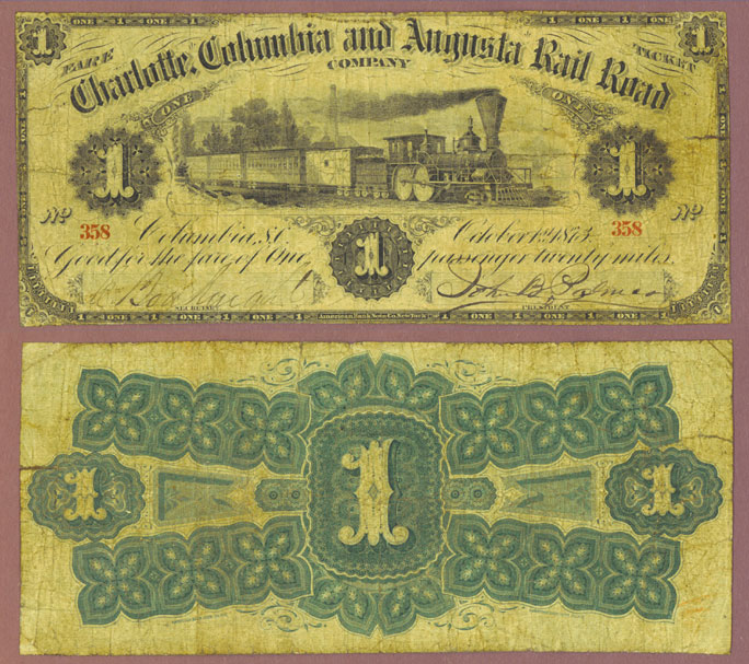 South Carolina 1873 - One Fare Rail Road