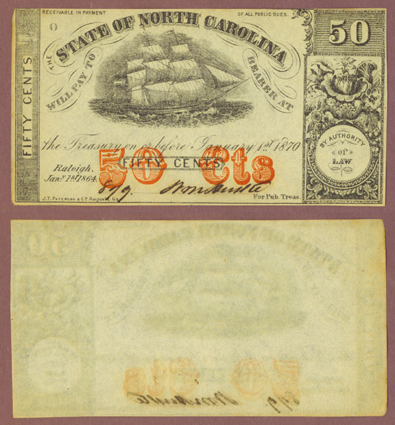 North Carolina 1864 - 50 Cr. #149B1Cents Civil War Confederate currency