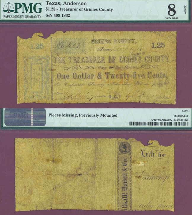 $1.25 1862 Anderson Texas Collectable civil war paper money