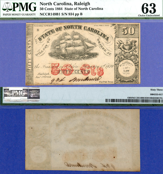 North Carolina 1864 - 50 Cents Cr. #149B1 US obsolete note