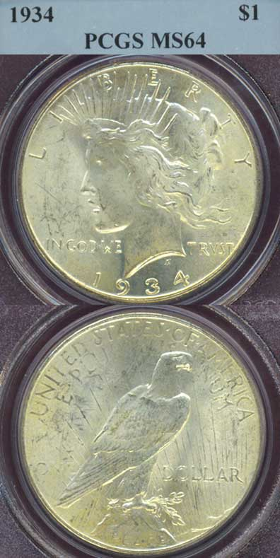 1934 $ Peace silver dollar PCGS MS 64