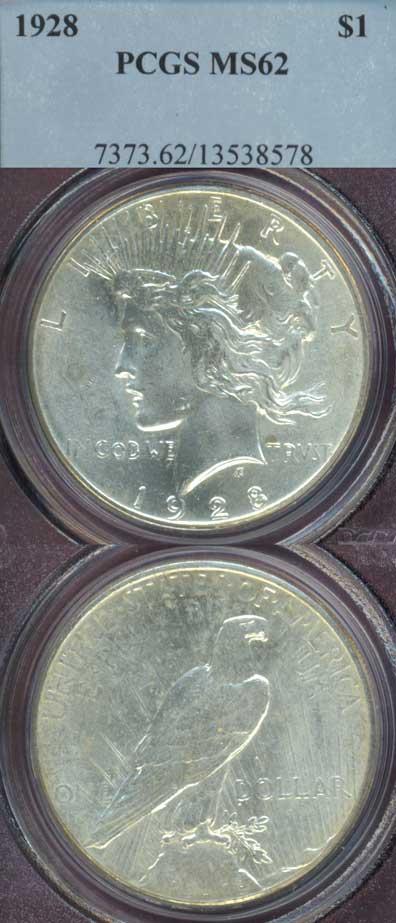 1928 $ Peace silver dollar