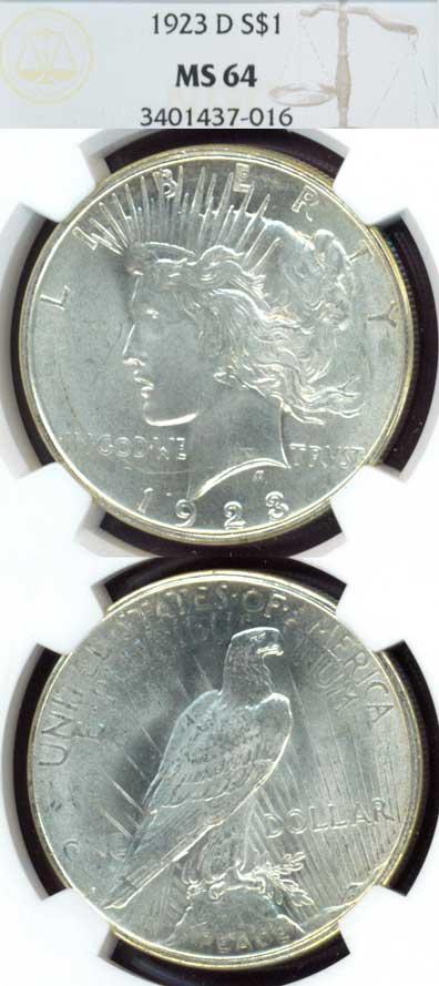 1923-D $ Peace silver dollar