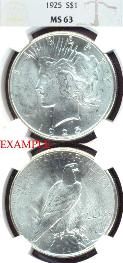 1925 $ Peace silver dollar