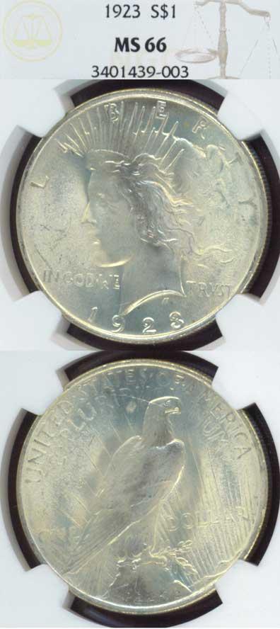 1923 $ Peace silver dollar