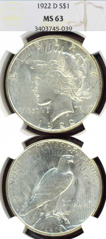 1922-D $ Peace silver dollar