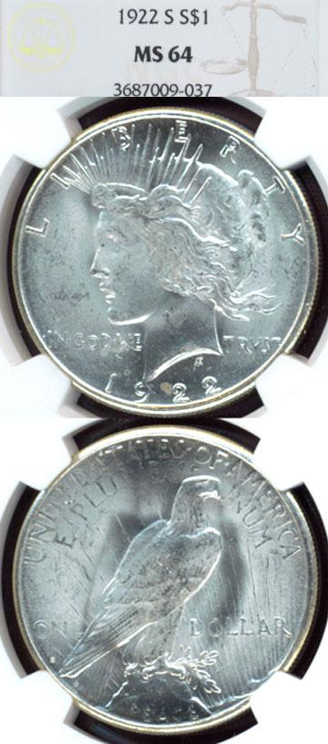 1922-S $ Peace silver dollar