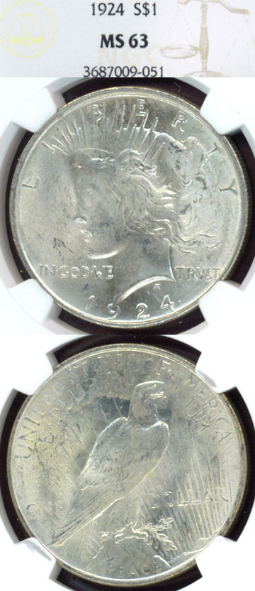 1924 $ Peace silver dollar