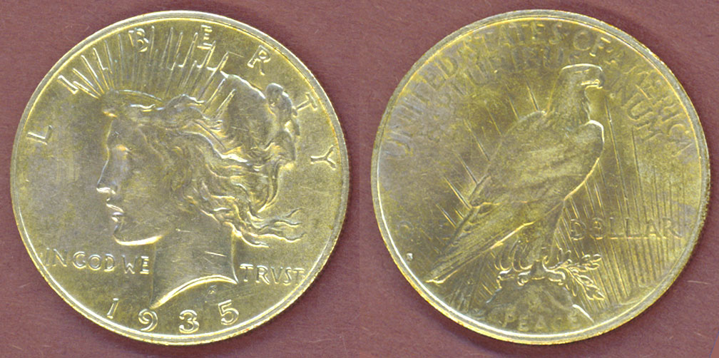 1935-S $ US Peace Silver Dollar