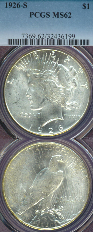 1926-S $ US Peace silver dollar PCGS MS 62