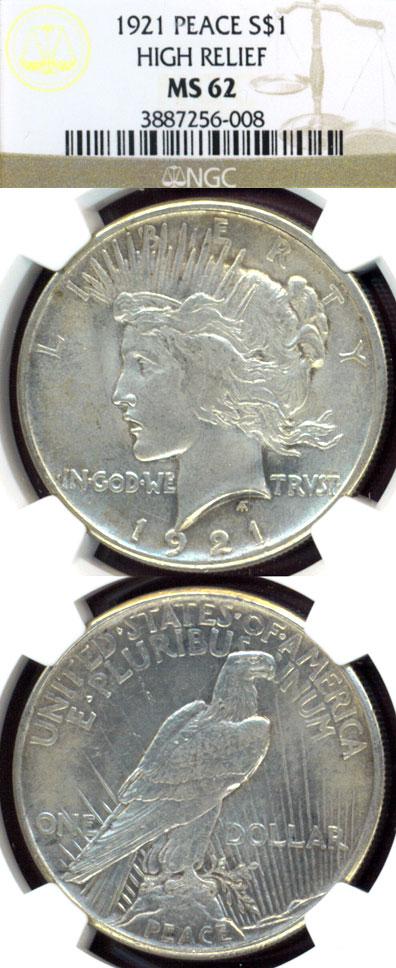 1921 Peace $ US Peace silver dollar