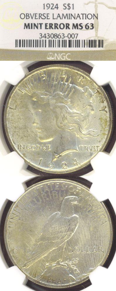 1924 $ Mint Error US Peace silver dollar
