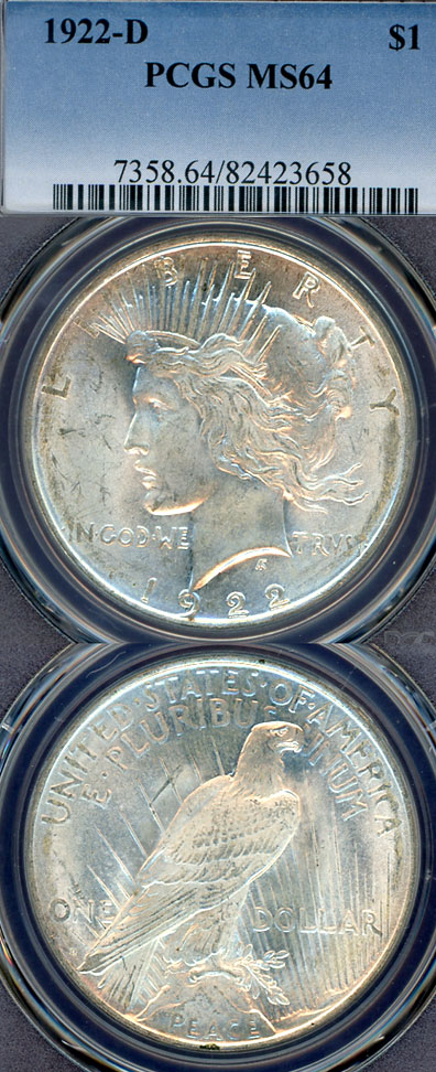 1922-D $ US Peace silver dollar PCGS MS64