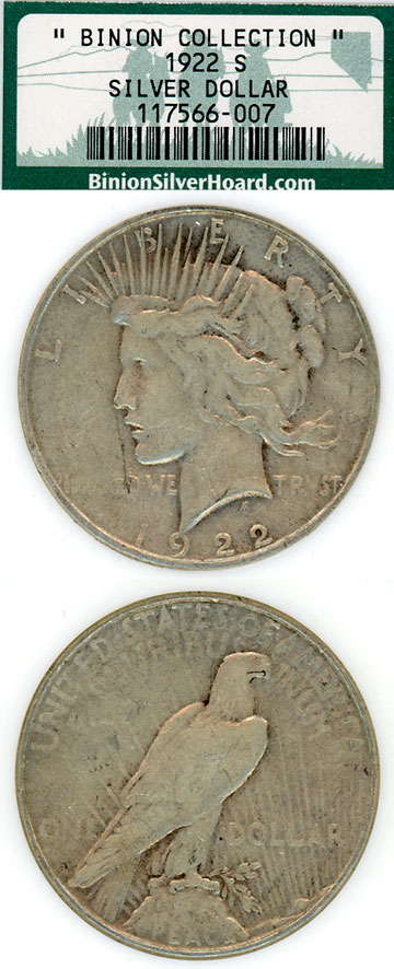 "1922-S $ US Peace silver dollar fron the famous ""Binion Collection"""