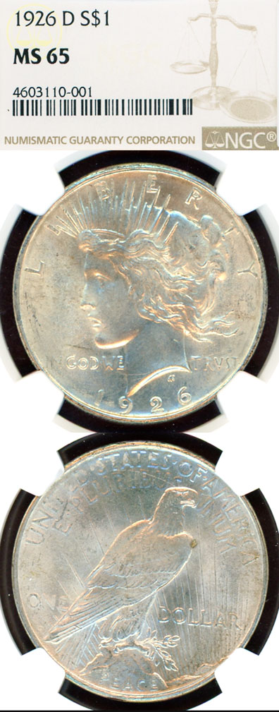 1926-D $ MS-65 US Peace silver dollar NGC MS 66