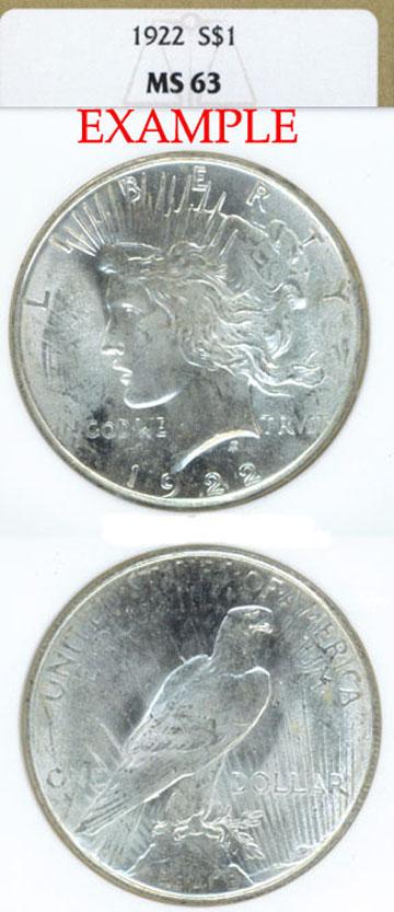 1922 $ Peace silver dollar