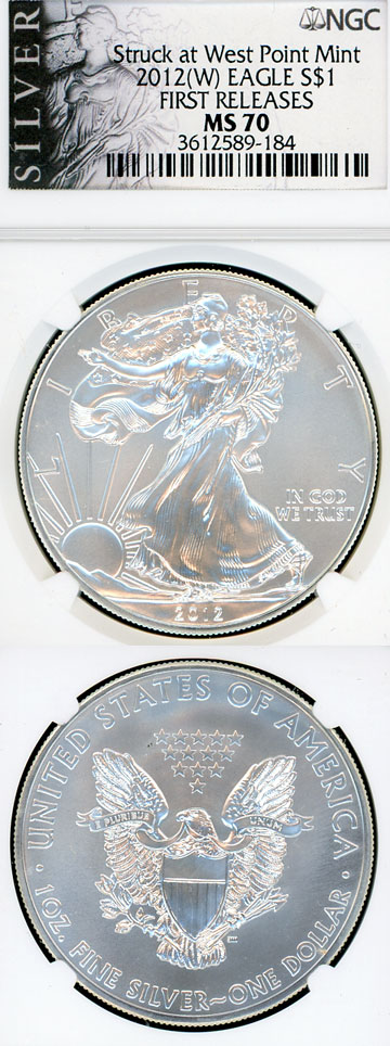 2012 W $ NGC-MS70 US silver eagle silver dollar