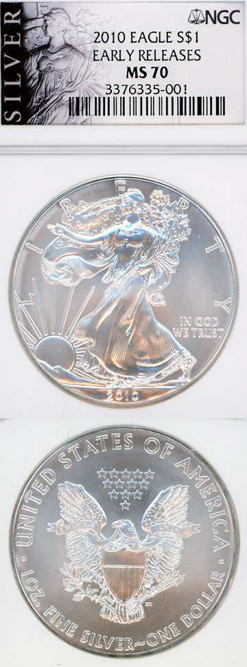 2010 $ NGC-MS70 US silver eagle silver dollar