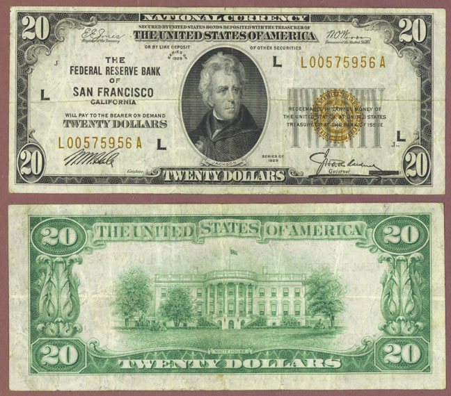 1929 $20 FR-1870-L San Francisco California Federal Reserve Bank Note
