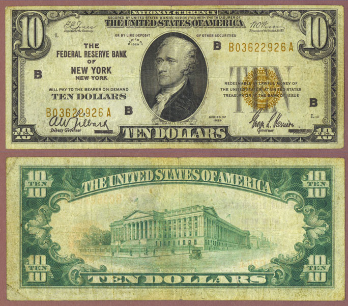1929 $10 FR-1860-B New York Small Size Federal Reserve Bank Note
