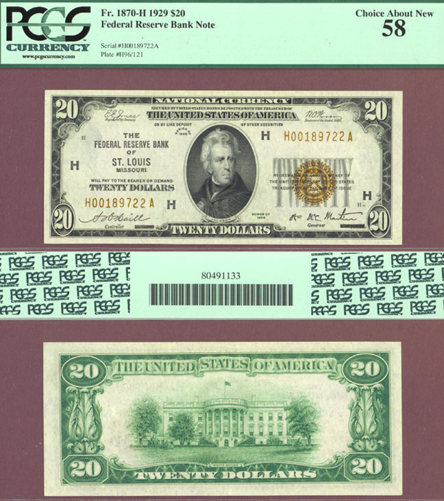 1929 $20 FR-1870-H St. Louis Small Federal Reserve Bank Note PCGS Choice About Uncirculated 58 PPQ