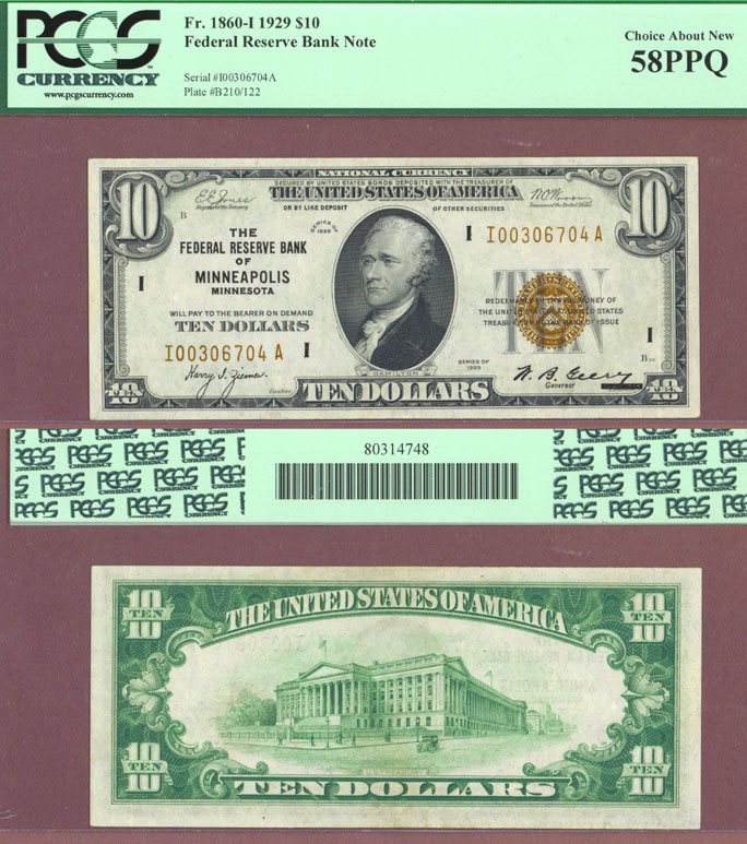 1929 $10 FR-1860-I Minneapolis Small size Federal Reserve Bank Note PCGS Choice About Uncirculated 58 PPQ