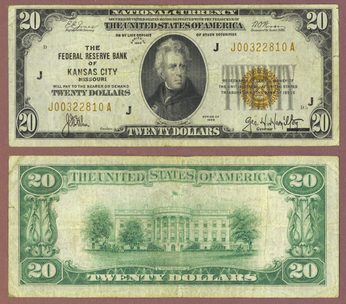 1929 $20 FR-1870-J Kansas City Small Federal Reserve Bank Note