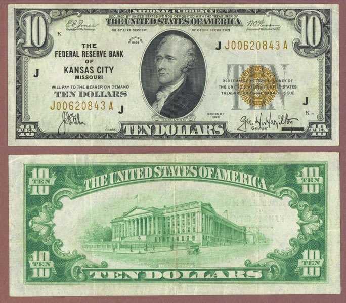 1929 $10 FR-1860-J Kansas City Small Federal Reserve Bank Note