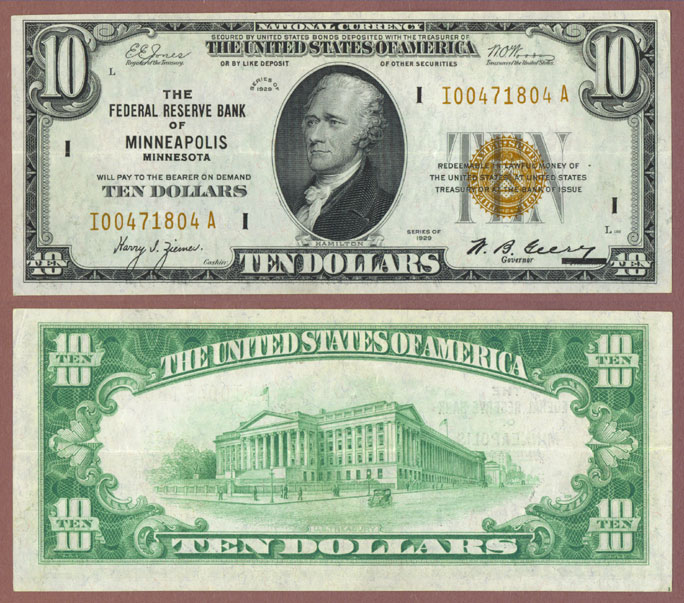 1929 $10 FR-1860-I Minneapolis Small federal reserve bank note