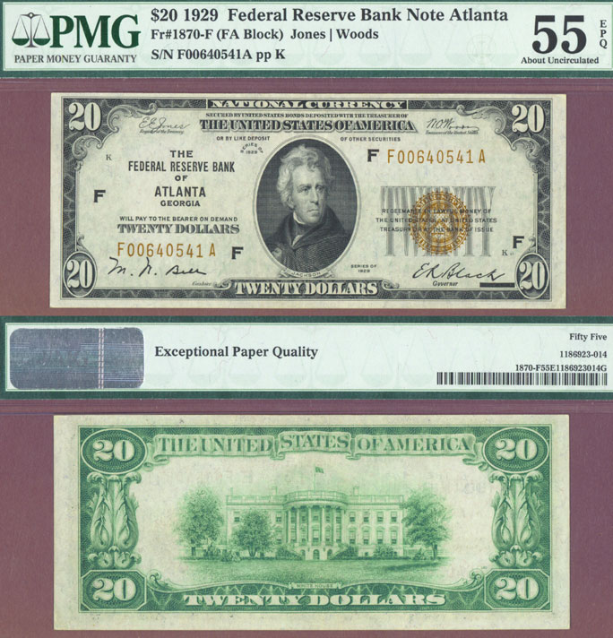 1929 $20 FR-1870-F Atlanta US small size federal reserve bank note