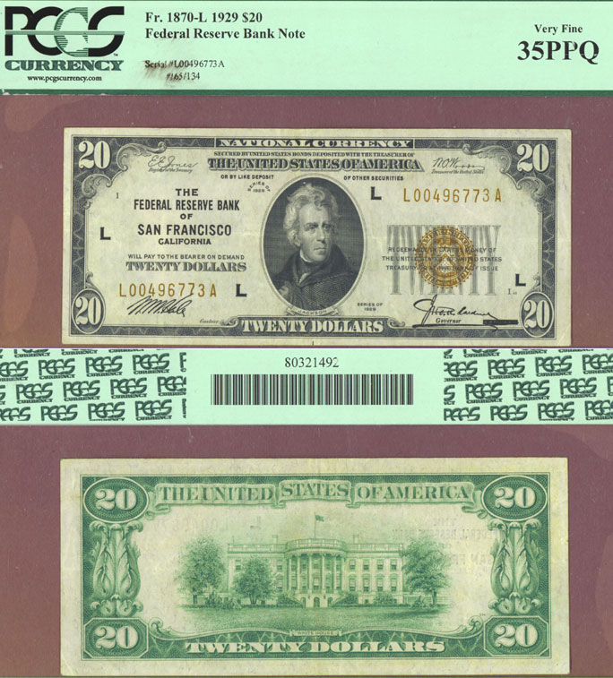 1929 $20 FR-1870-L San Francisco US small size federal reserve note
