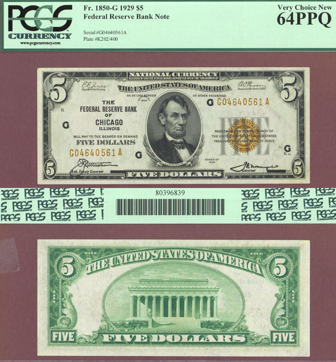1929 $5.00 FR-1850-G Chicago US small size federal reserve bank note