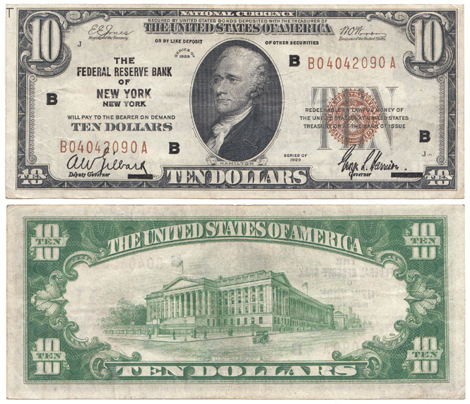 1929 $10 FR-1860-B New York US small size federal reserve bank note