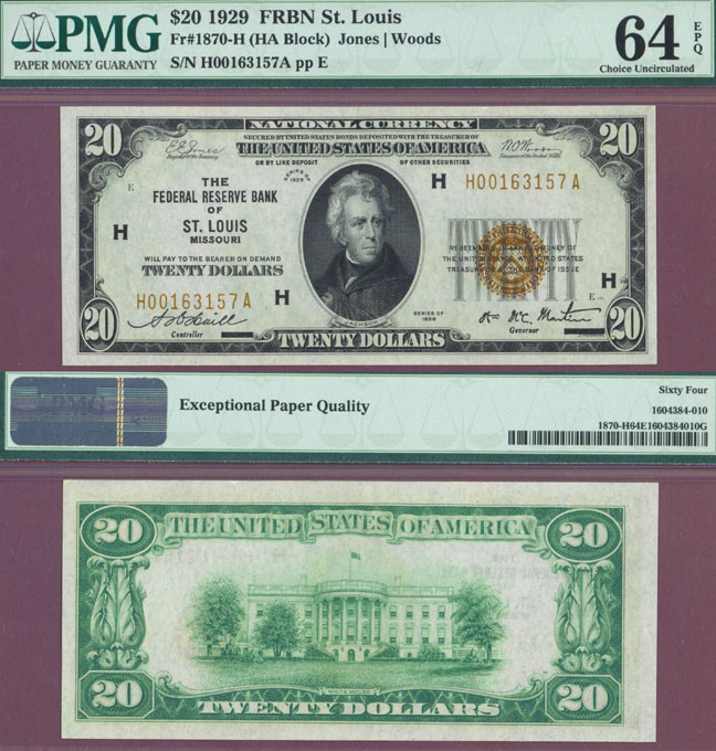 1929 $20 FR-1870-H St. Louis Small Federal Reserve Bank Note PMG Choice Uncirculated 64 EPQ