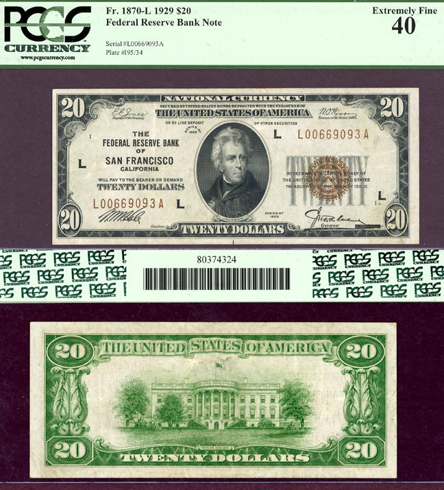 1929 $20 FR-1870-L San Francisco US small size federal reserve bank note PCGS Extremely Fine 40
