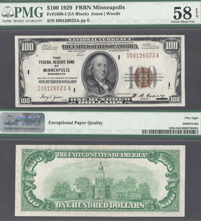 1929 $100 FR-1890-I Minneapolis small size federal reserve bank note PMG Choice About Uncirculated 58 EPQ