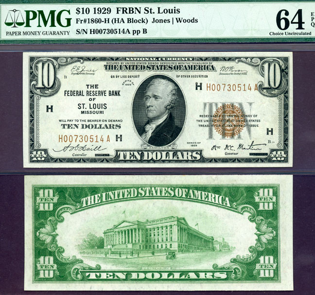 1929 $10 FR-1860-H St. Louis US small size federal reserve bank note PMG Choice Uncirculated 64 EPQ