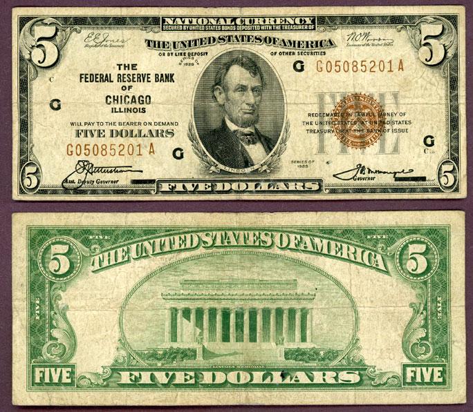 1929 $5.00 FR-1850-G Chicago