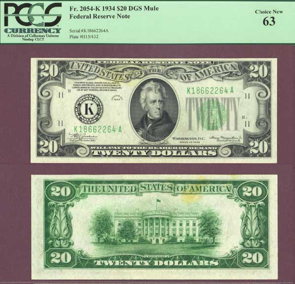 1934 $20 FR-2054-K small federal reserve note PCGS Choice New 63