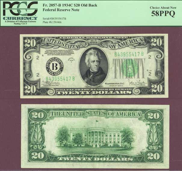 1934-C $20 FR-2057-B small US federal reserve note PCGS Choice About New 58 PPQ