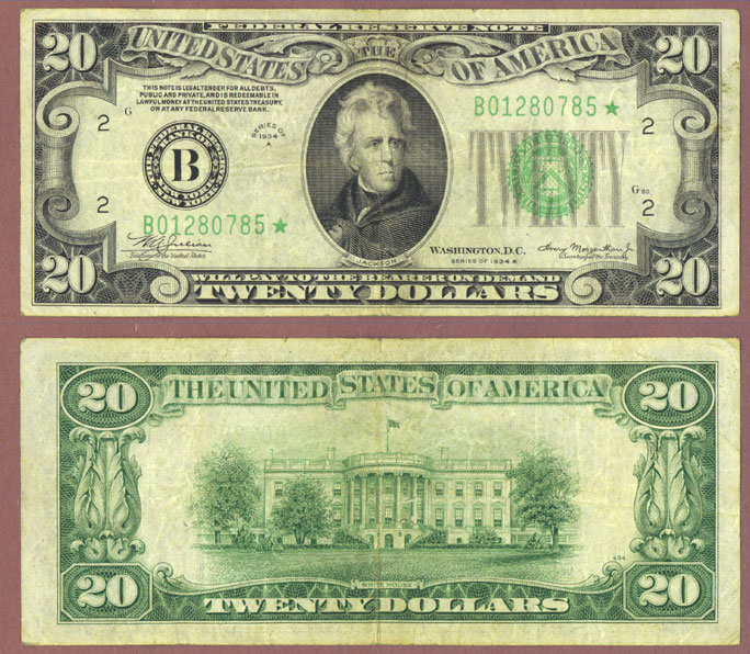 1934-A $20 STAR NOTE FR-2055-B* Federal reserve note
