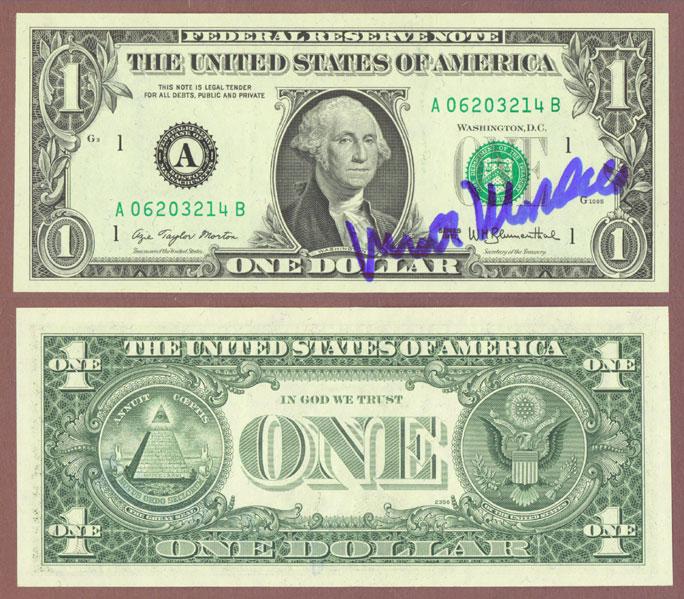 1977 - $1 FR-1909 Walter Mondale Courtesy Autograph