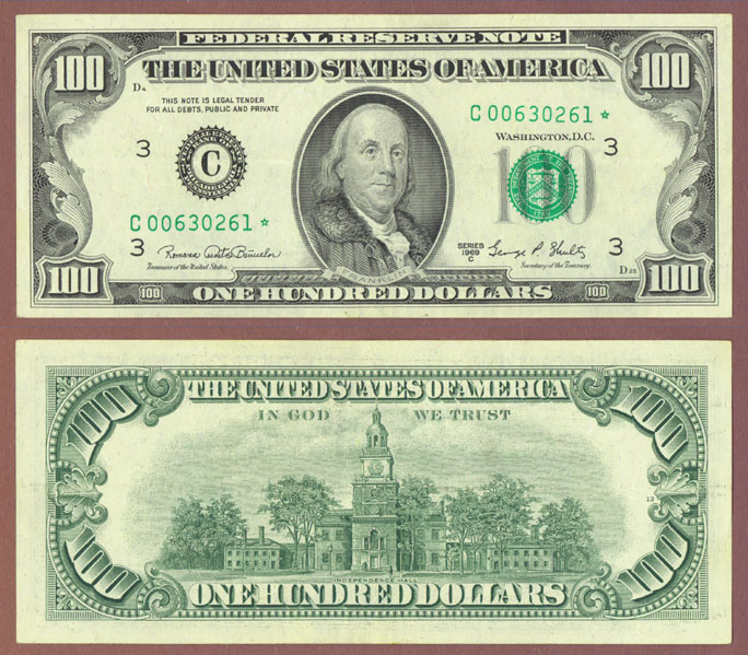 1969-C $100 FR-F2166*-C US small size federal reserve note