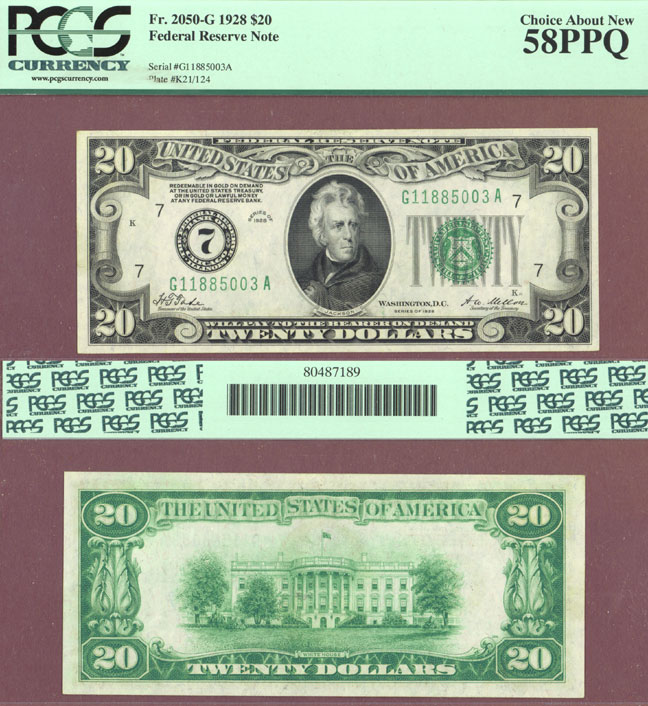 1928 - $20.00 FR-2050-G Numeral Note US small size federal reserve note PCGS Choice About New 58 PPQ