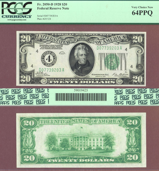 1928 - $20.00 FR-2050-D Numeral Note US small size federal reserve note PCGS Very Choice New 64 PPQ