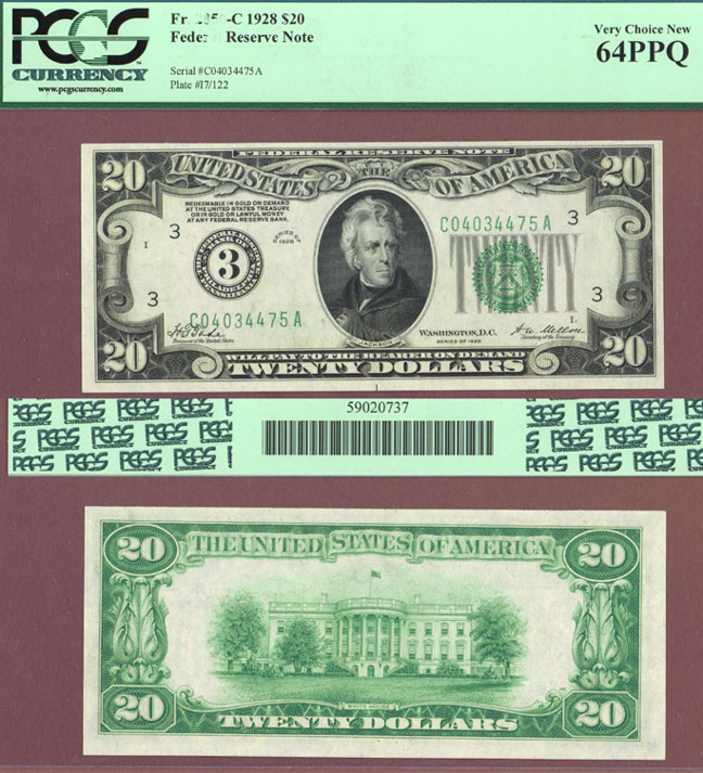 1928 - $20.00 FR-2050-C Numeral Note small size US federal reserve note PCGS 64 PPQ