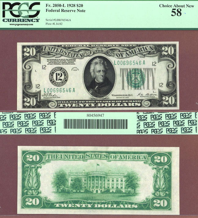 1928 - $20.00 FR-2050-L Numeral Note US small size federal reserve note PCGS Choice About New 58