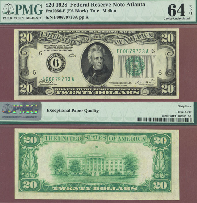 1928 - $20.00 FR-2050-F US small size federal reserve note PMG Choice Uncirculated 64 EPQ