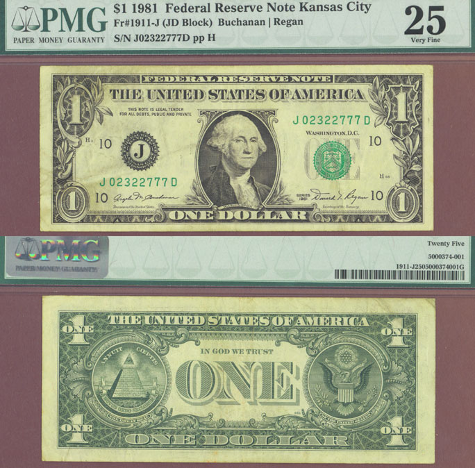"1981 $1 FR-1911-J ""Scarce JD Block"" US small size federal reserve note"