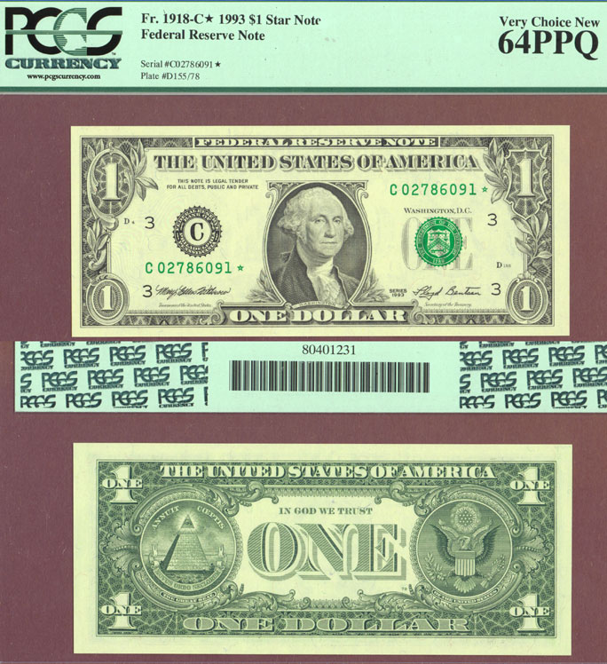 1993 $1 FR-1918-C* US small size federal reserve *STAR* note PCGS Very Choice New 64 PPQ